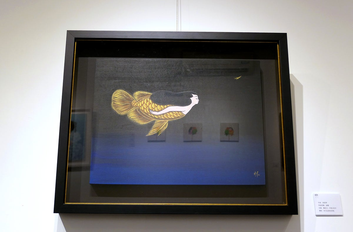 Gold Dragon- Arowana Mermaid Original Painting