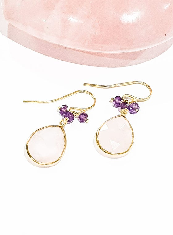 Image of Rose Quartz and Amethyst Charm Earrings