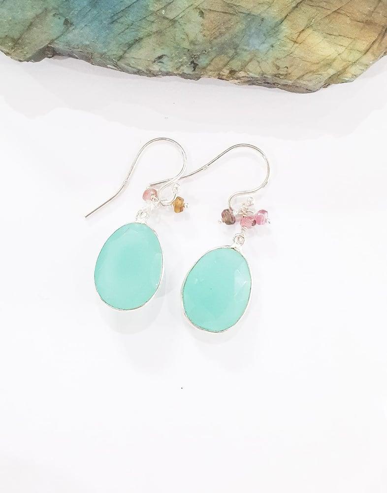 Image of Aqua Onyx and Tourmaline Charm Earrings