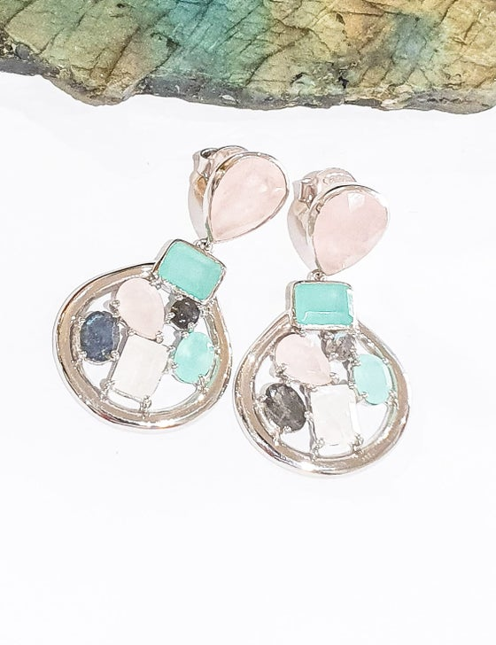 Image of Rose Quartz, Labradorite, Aqua Onyx and Moonstone 925 Silver Statement Earrings