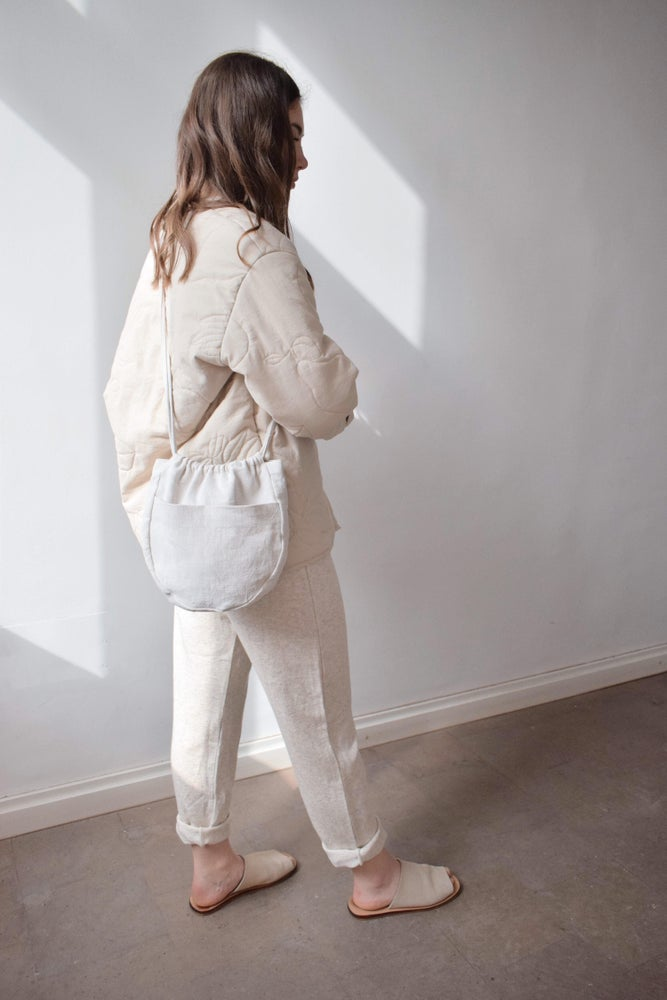 Image of PETUNIA  Oval Linen Crossbody Bag