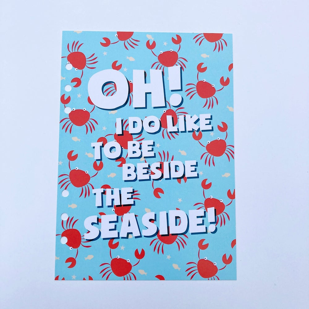 Image of A5 FOOD DIARY ORGANISER INSERT OH I DO LIKE TO BE BESIDE THE SEASIDE