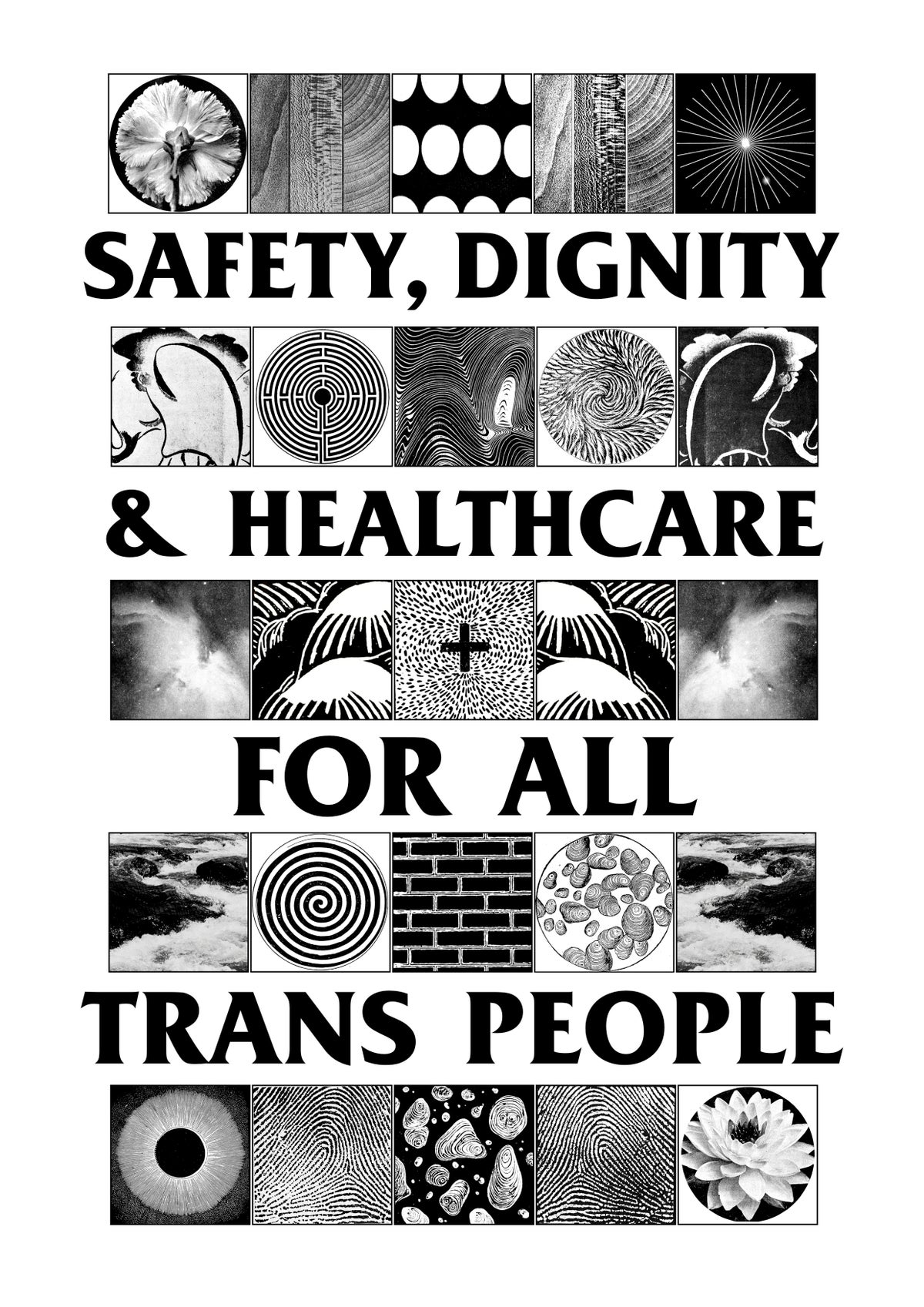 Image of SAFETY, DIGNITY & HEALTHCARE FOR ALL TRANS PEOPLE T-Shirt