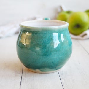 Image of Crackled Turquoise and White Glazed Mug with Floral Design, 14 ounce, Handmade Pottery Made in USA