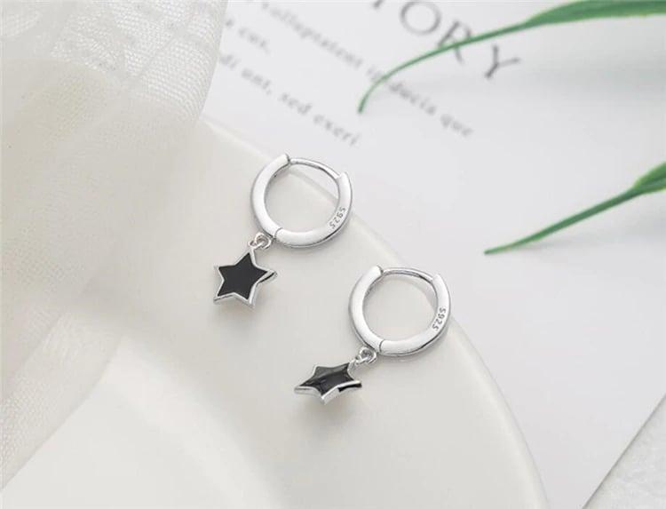 Blackstar Dangle Earrings (925 Sterling Silver)