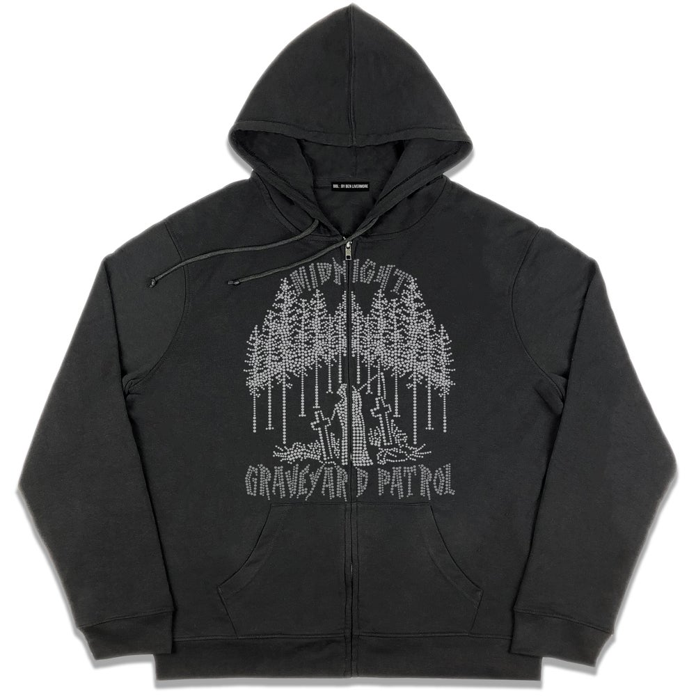 Image of Graveyard Patrol Rhinestone Zip Up Hoodie (Black)