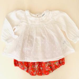 Image of Barrette coton orange fleuri