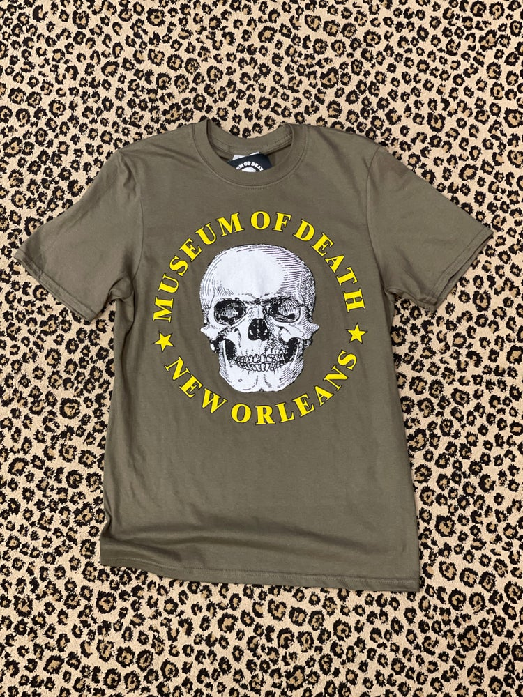 Image of New Orleans Museum of Death Green Logo Tee