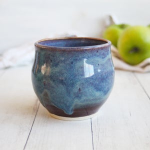 Image of Handmade Mug in Blue and Mauve Glazes, 12 ounce Pottery Coffee Cup, Made in USA