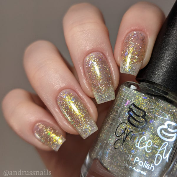 Image of Fortuitous - is a Topper with holo flakes, Crystal colour changing flakies and a smattering of gold