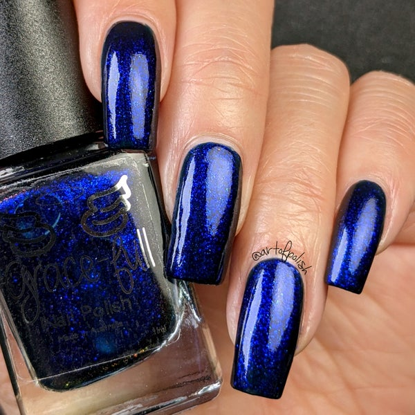 Image of Unforeseen- a deep French navy with a fine aurora shimmer that shifts a little to purple.