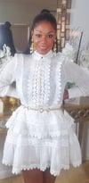 White Lace Turtle Neck Dress