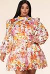 Spring Floral Lace Mini Dress