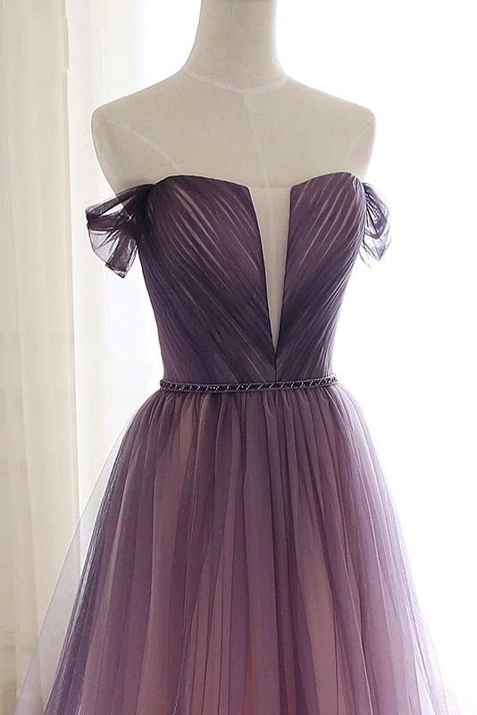 Gradient Tulle Off Shoulder Elegant Long Formal Dress,Long Evening Dress Party Dress