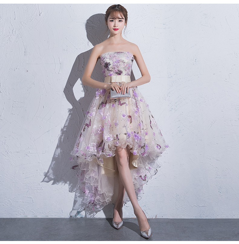 Cute Floral Tulle High Low New Style Prom Dress, Short Homecoming Dress Evening Dress