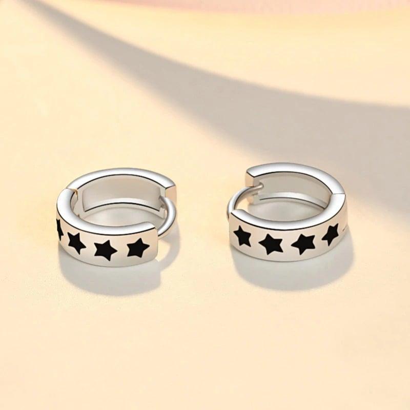 Blackstars Hoop Earrings (925 Sterling Silver)
