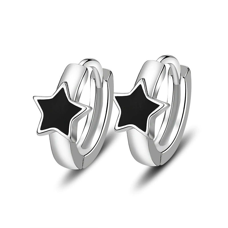 Bowie Blackstar Hoop Earrings (925 Sterling Silver)