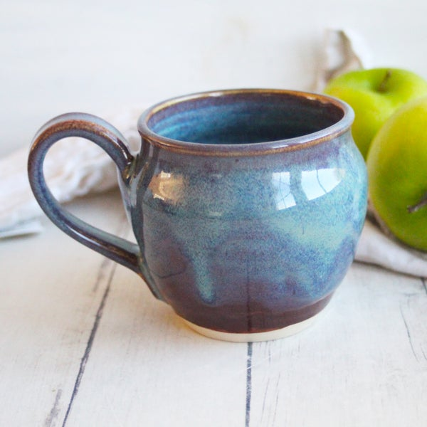 Image of Handmade Mug in Blue and Mauve Glazes, 14 ounce Pottery Coffee Cup (B), USA
