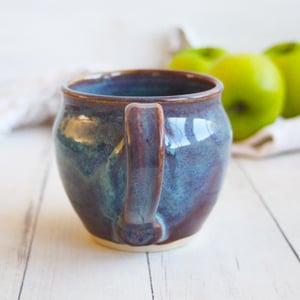 Image of Handmade Mug in Blue and Mauve Glazes, 14 ounce Pottery Coffee Cup (B), USA