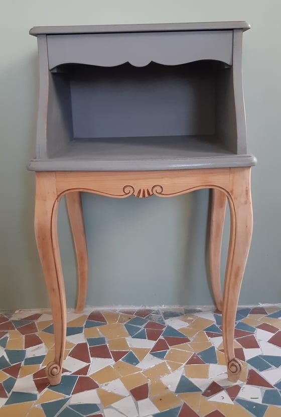 Image of Petite console ou chevet gris & bois