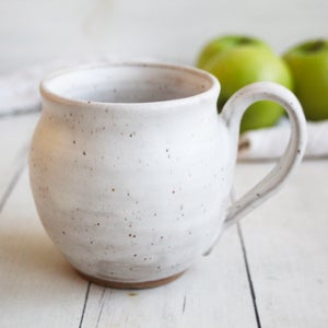 Image of Rustic Modern Pottery Mug in Matte White Glaze on Speckled Brown Stoneware, 16 oz. Made in USA