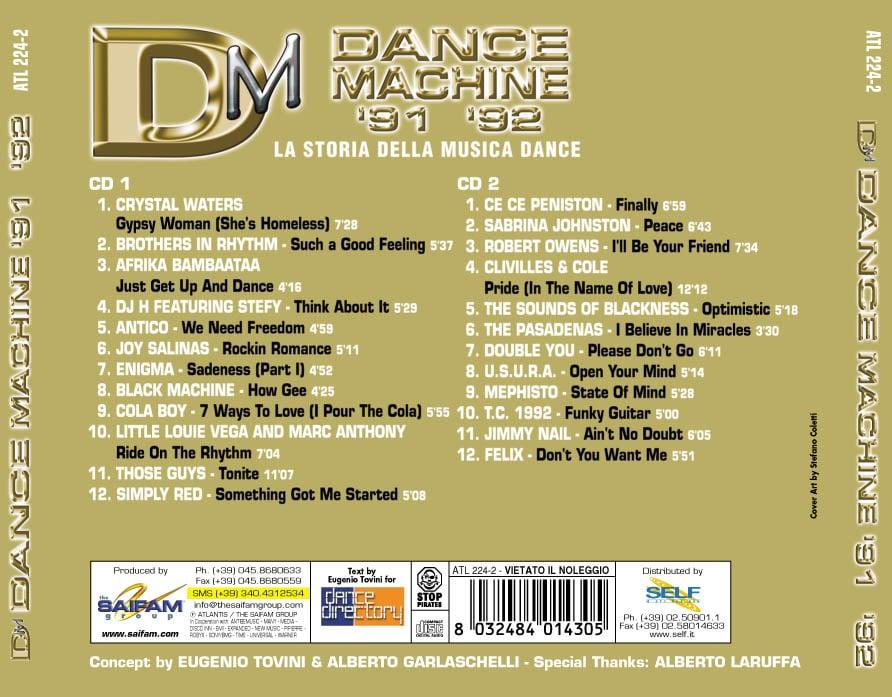 ATL224-2 // DANCE MACHINE 1991/1992 - LA STORIA DELLA MUSICA DANCE (DOPPIO CD COMPILATION)