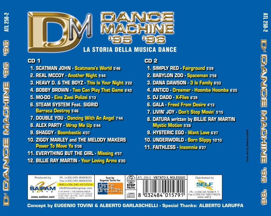 ATL250-2 // DANCE MACHINE 1995/1996 - LA STORIA DELLA MUSICA DANCE (DOPPIO CD COMPILATION)