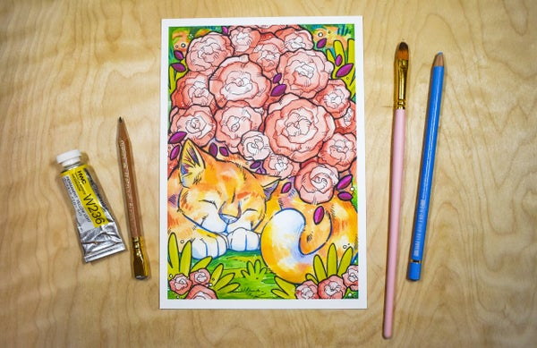 Image of Sleeping Rose Cat - Art Print