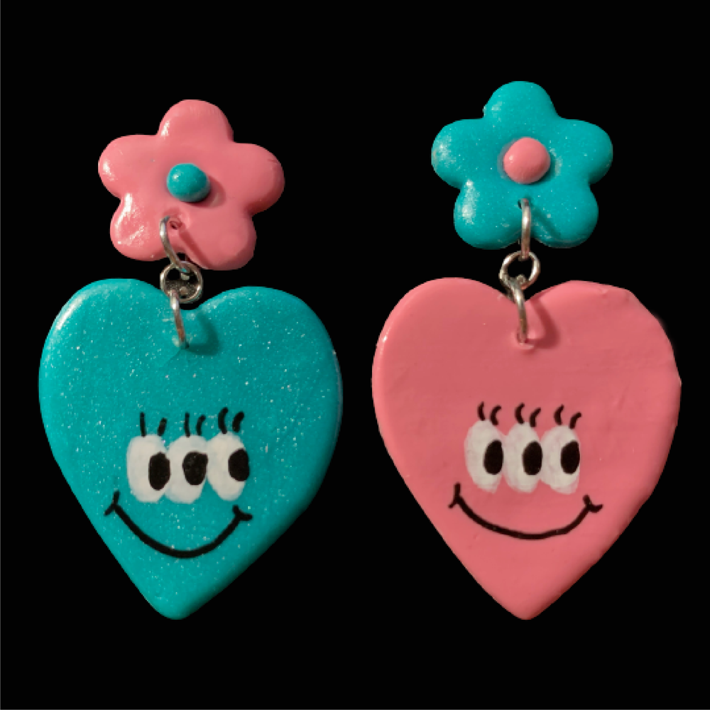 Image of Rose & Teal Daisy Hearts