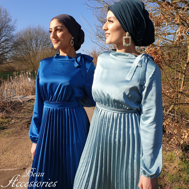 Image of Pleated Skirt Satin Maxi Dress