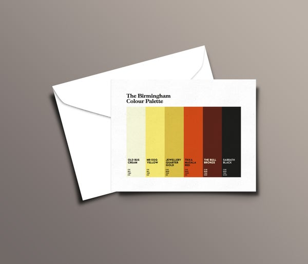 Image of Pack of 5 Birmingham Colour Palette Greetings Cards