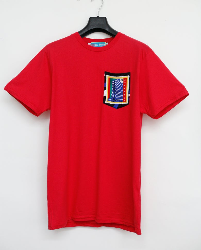 Image of Red Stamp Print Pocket Tee Shirt