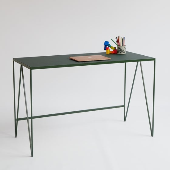 Image of Study Desk with Natural Linoleum Table Top, Customizable