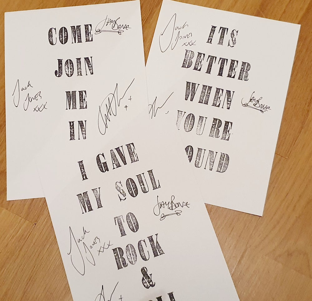 Image of Signed TRAMPOLENE A5 lyric quotes