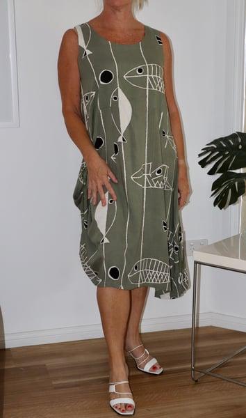 Image of Linen Fish Khaki dress