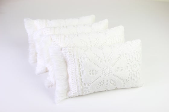 Image of Vintage Lace & Fringed Newborn Posing Pillow