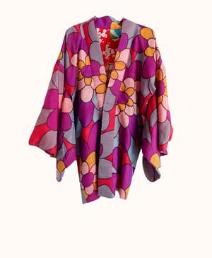 Image of Silke kimonojakke i meisen vævning i røde farver