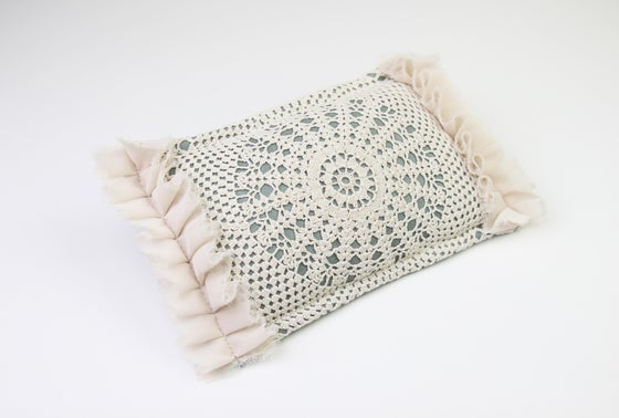 Image of Vintage Lace, Frills & Sage Linen Newborn Posing Pillow