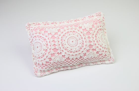 Image of Vintage Lace & Linen Newborn Posing Pillow - a