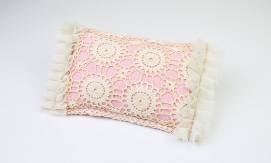 Image of Vintage Lace, Frills & Linen Newborn Posing Pillow - c