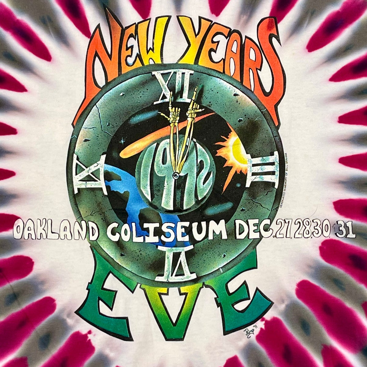 Original Vintage Grateful Dead NYE 1991/1992 Tee! Rare Size XX-Large!