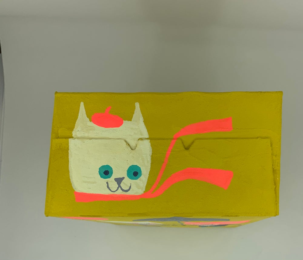 Image of Cats on a box. Original painting on a box