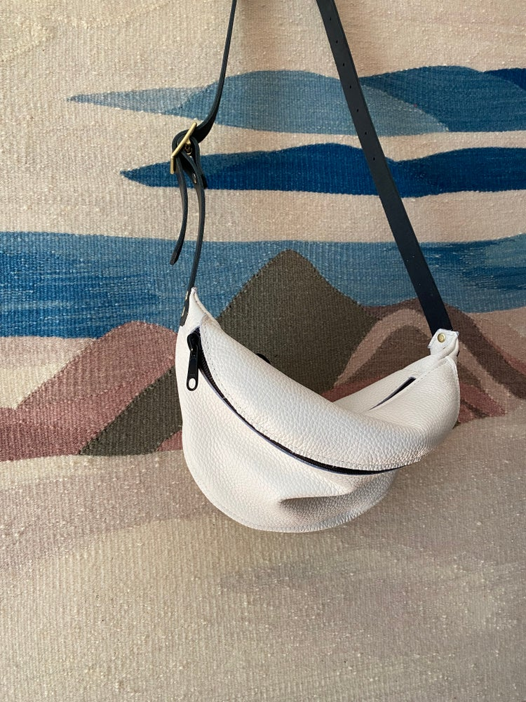 Image of #1707 White Leather Fanny Pack