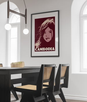 Image of Vintage poster Cambodia - Young Girl - Portrait - Fine Art Print