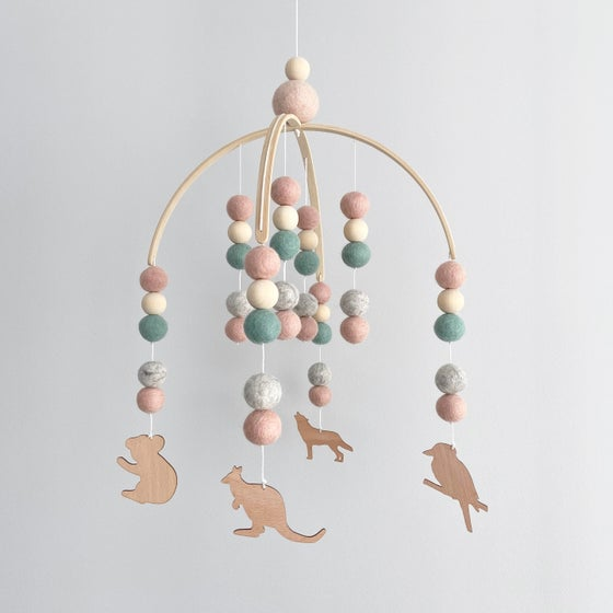 Image of Australiana felt ball mobile - pink, mint & grey