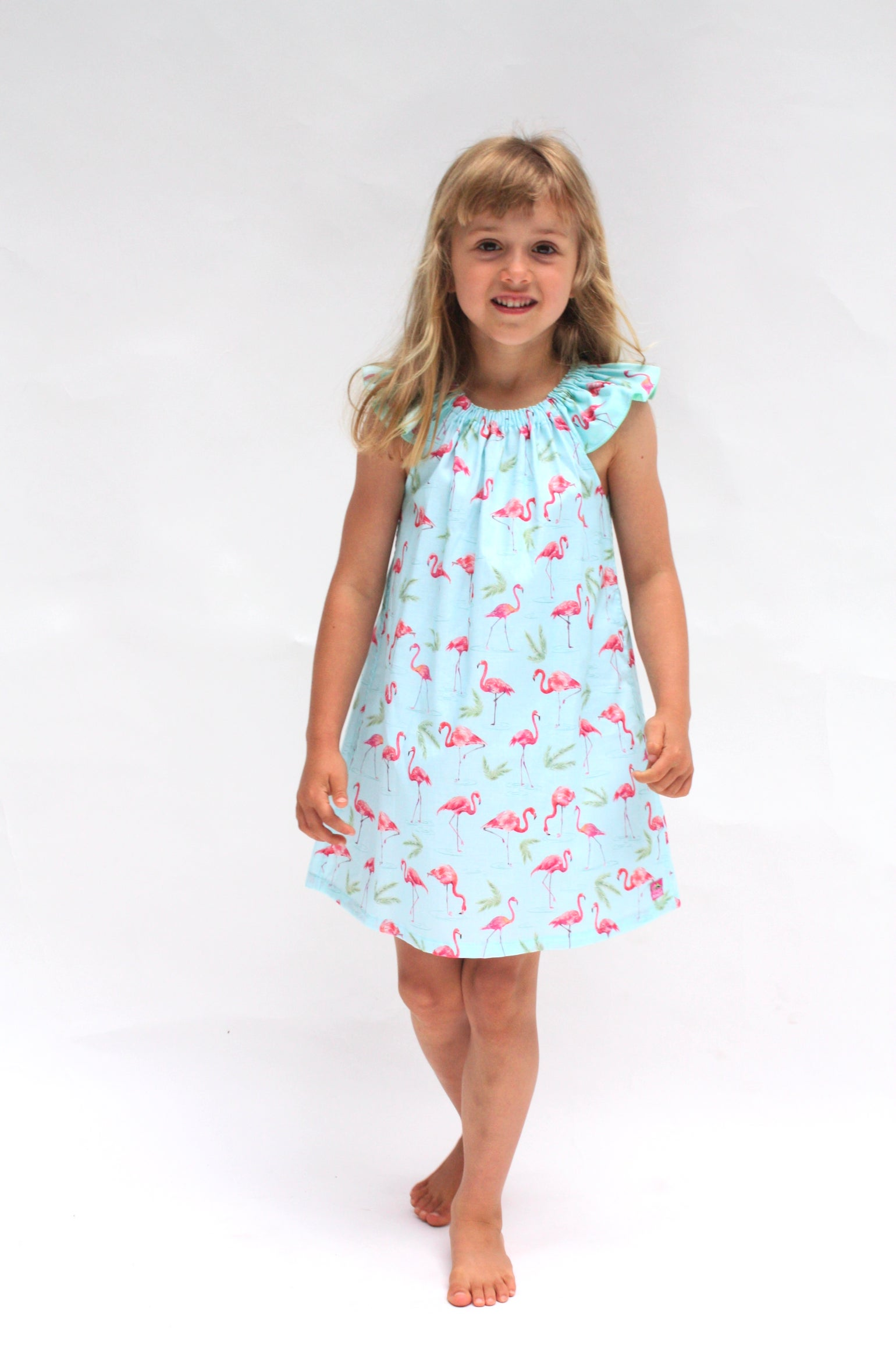 Image of Flutter Sleeve Dress in Tropical Flamingo