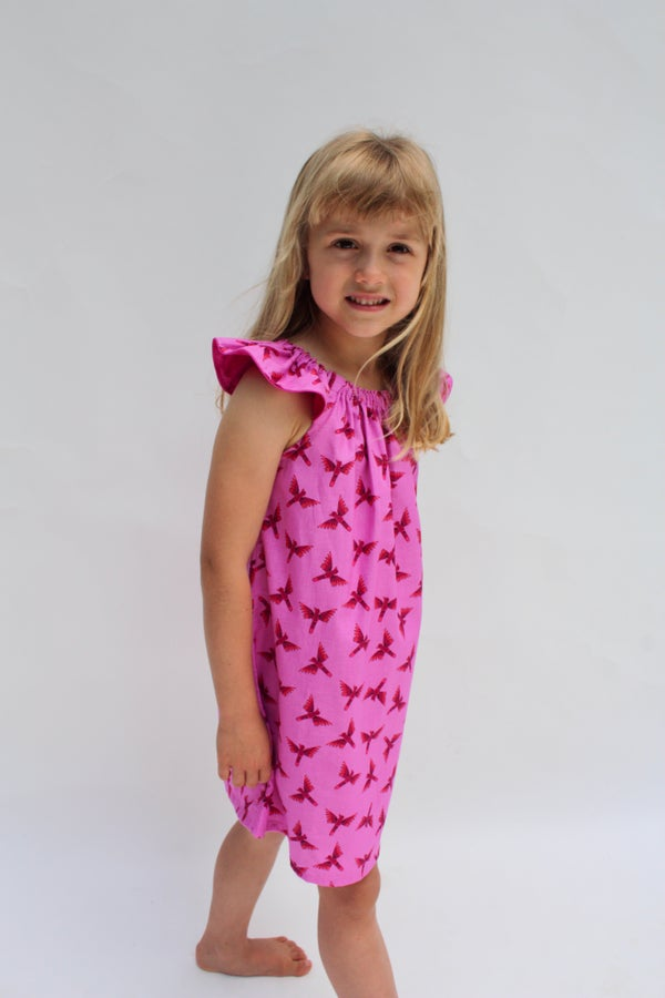 Image of Flutter Sleeve Dress in Parrots