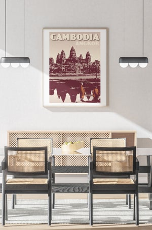 Image of Vintage poster Cambodia Cambodge - Angkor Wat Clay - Fine Art Print