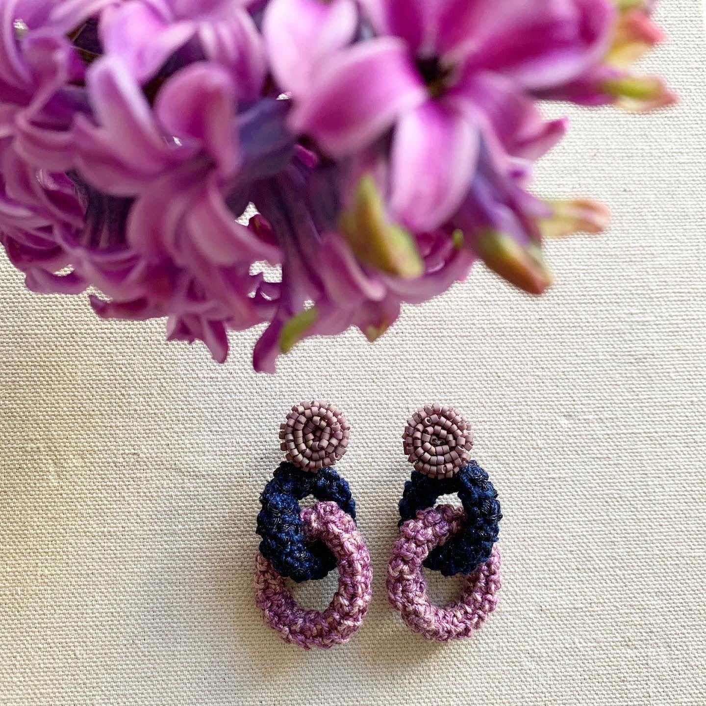Image of Purple Blue Bonded Together earrings