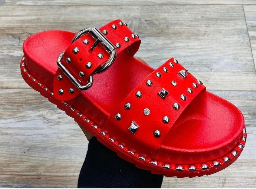 Image of Roma sandals in red